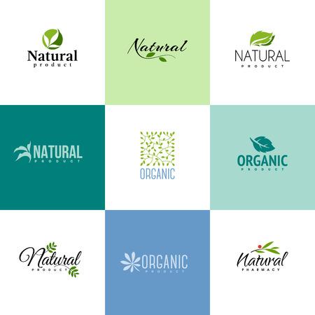 doğa arka: Doğal ve organik ürünler logosu şablonları ayarlayın. Yaprakları ve dalları Simgeler