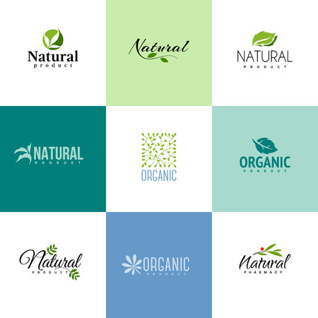 ecology icons: Set of natural and organic products logo templates. Icons of leaves and branches