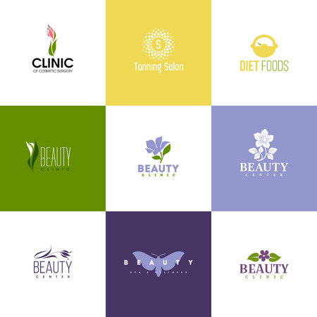 cosmetics products: Set of beauty clinic logo templates. Icons of flowers and leaves