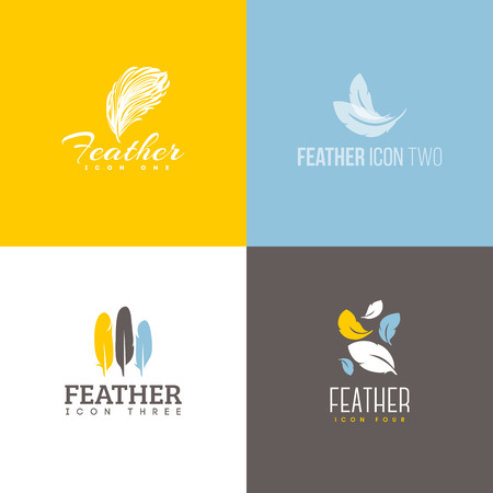 business products: Feather icon. Set of icon design vector templates Illustration