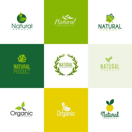 productos naturales: Conjunto de modelos de productos de iconos naturales y org�nicos. Iconos de hojas y ramas