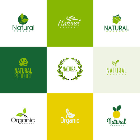 and organic: Set of natural and organic products icon templates. Icons of leaves and branches