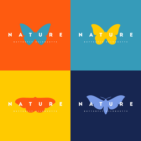 butterfly silhouette: Butterfly. Set of icon design vector templates Illustration