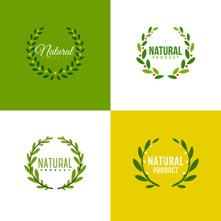Natural product icon design vector template. Wreath of branches with leaves