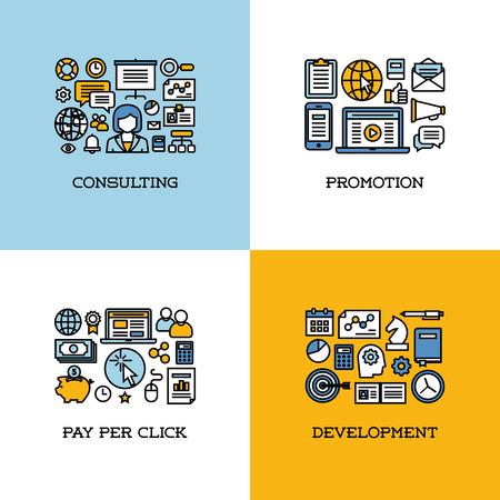 Flat line icons set of consulting, promotion, pay per click, development. Creative design elements for websites, mobile apps and printed materials Vector