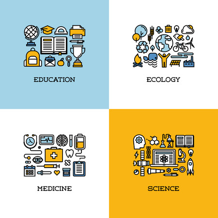 ethical: Flat line icons set of education, ecology, medicine, science. Creative design elements for websites, mobile apps and printed materials