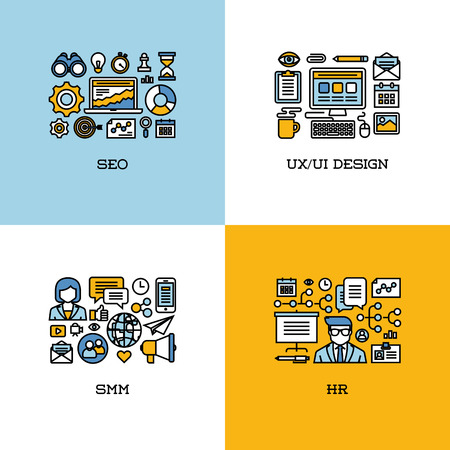 Flat line icons set of SEO, UI and UX design, SMM, HR. Creative design elements for websites, mobile apps and printed materials Vector