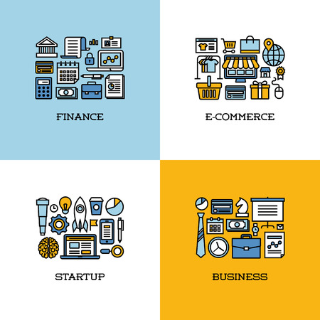 Flat line icons set of finance, e-commerce, startup, business. Creative design elements for websites, mobile apps and printed materials