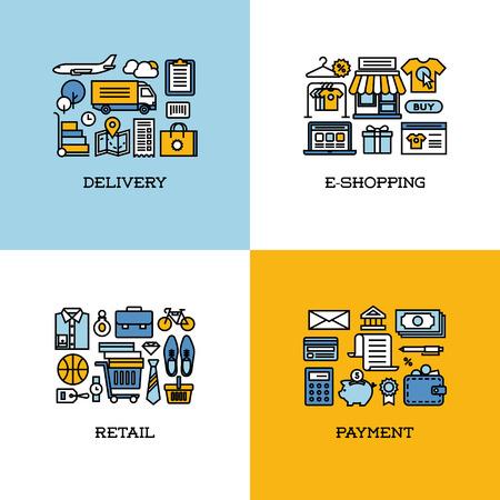 Flache Linie Icons Set der Lieferung, E-Einkaufen, Einzelhandel, Zahlung. Kreative Design-Elemente für Webseiten, mobile Anwendungen und Drucksachen