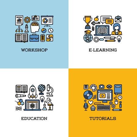 Flat line icons set of workshop, e-learning, education, tutorials. Creative design elements for websites, mobile apps and printed materials Vector