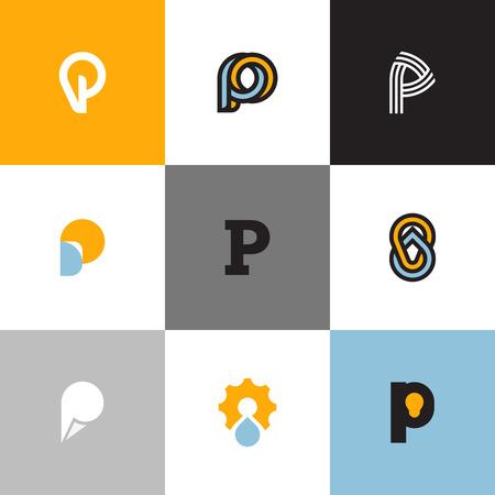 logo informatique: Jeu de lettres P mod�les de logo avec chute et ampoule. Collection d'ic�nes vectorielles cr�atives pour la conception