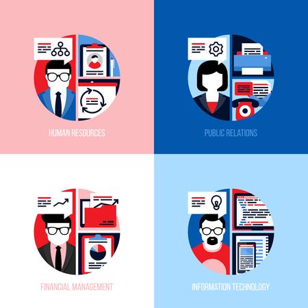 relaciones humanas: conceptos de diseño de planos para los empleados de recursos humanos, relaciones públicas, gestión financiera, tecnología de la información. ilustración vectorial moderna para el sitio web de la bandera, la página de destino y las aplicaciones móviles