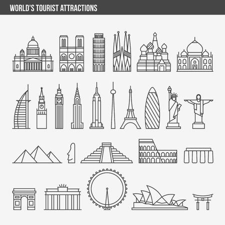 construccion: línea plana ilustración del vector del estilo del diseño conjunto de iconos y logotipos de las principales atracciones turísticas, edificios históricos, torres, monumentos, estatuas, esculturas y la arquitectura moderna