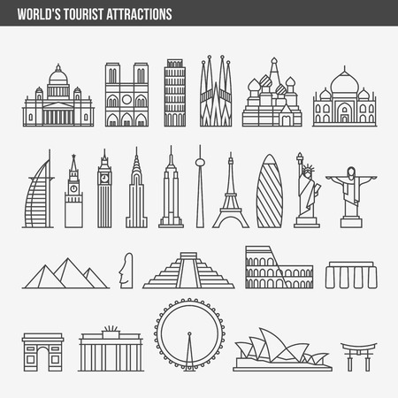 Flat line design style vector illustration icons set and logos of top tourist attractions, historical buildings, towers, monuments, statues, sculptures and modern architecture Illustration