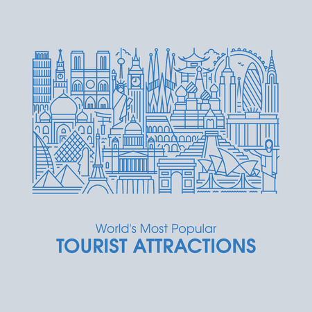 Flat line design style illustration of worlds most popular tourist attractions. Modern vector background for traveling, summer vacation, tourism and journey concepts