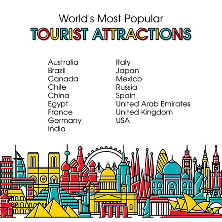 monumento: línea de estilo de diseño plano ilustración vectorial colorido moderno de viajar, vacaciones de verano, el turismo y el viaje