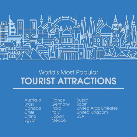 세계에서 가장 인기있는 관광 지역의 플랫 라인 디자인 스타일의 그림입니다. 여행, 여름 휴가, 관광 및 여행 개념 현대 벡터 배경 일러스트