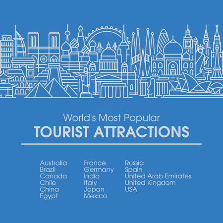 Flat line design style illustration of worlds most popular tourist locations. Modern vector background for traveling, summer vacation, tourism and journey concepts