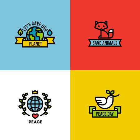 Flat line design style vector illustration of green planet, peace day and save the animals