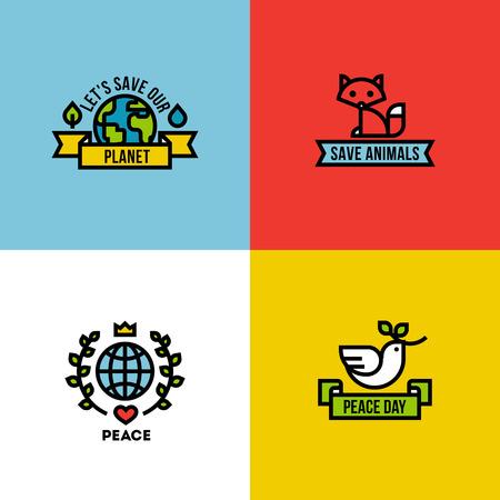 logo recyclage: vecteur de style de conception en ligne Flat illustration de la planète verte, le jour de la paix et de sauver les animaux Illustration