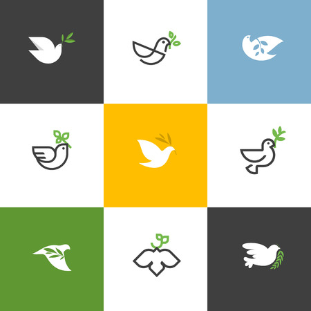 hope: Peace dove with green branch. Flat line design style vector illustrations set of icons and logos