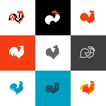 Haan en pik. Platte design stijl vector illustraties set van iconen en logo's