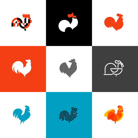 crowing: Rooster and cock. Flat design style vector illustrations set of icons and logos