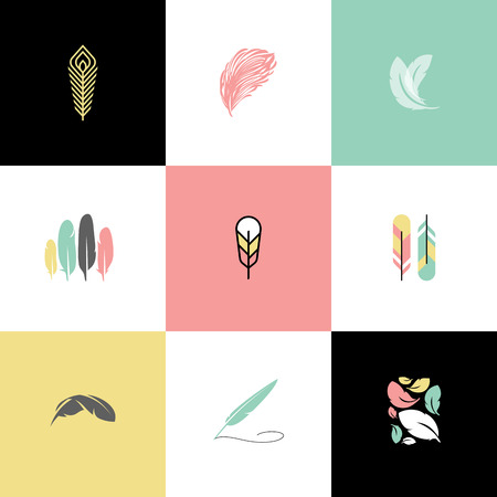 bird feathers: Feather. Set of modern design vector templates and icons
