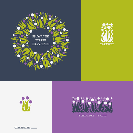 allium: Floral design elements and wreath of Allium. Vector illustration