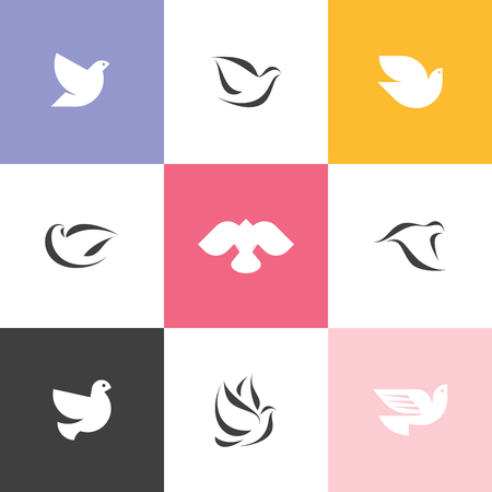heaven and earth: Set of elegant dove icons Illustration