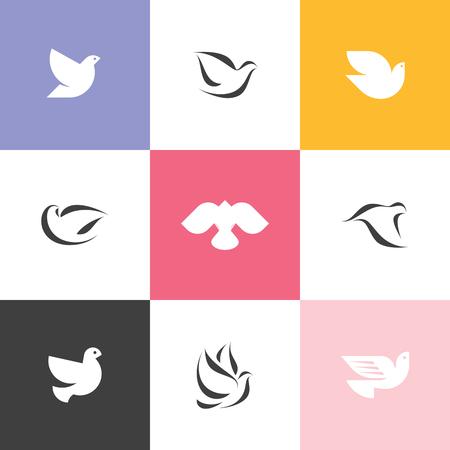 ethical: Set of elegant dove icons Illustration