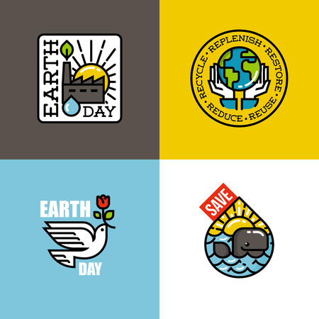 hands holding earth: Earth day concepts set with eco-friendly factory at sunrise, human hands holding Earth, peace dove with red flower, cheerful whale at sunset. Creative flat line vector illustration Illustration
