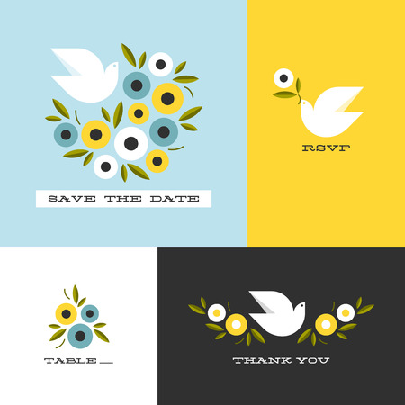 bird flying: Dove and floral wreath of anemones. Flat style vector design elements