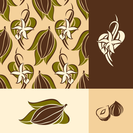 vanilla: Cocoa bean with leaves and vanilla flower with pods. Seamless pattern and design elements
