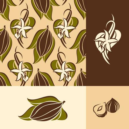 vainilla flor: grano de cacao con hojas y flores de vainilla con las vainas. patrón transparente y elementos de diseño