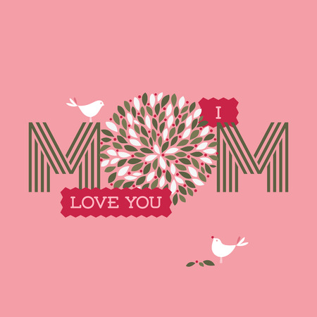 abstract flowers: Mothers day card with two cute birds and I love you mom text with floral decoration