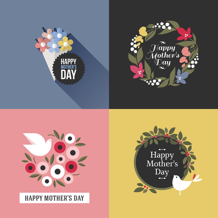 assortment: Mothers day card with pretty birds, assortment of multicolored floral decoration and greeting text message