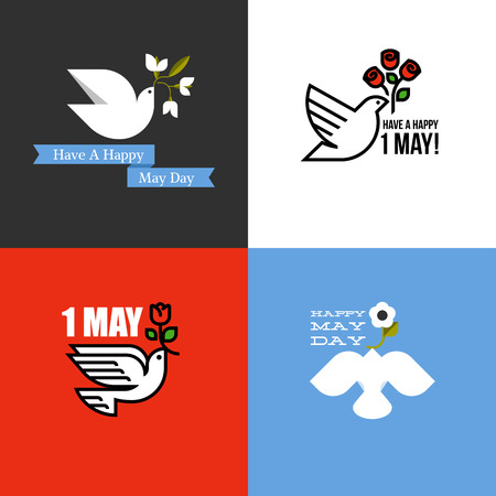 Flat style card for holiday of International Workers Day on 1 May with dove and flowers