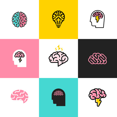 Set of flat line icons of brain, brainstorming, idea, and creativity Illustration