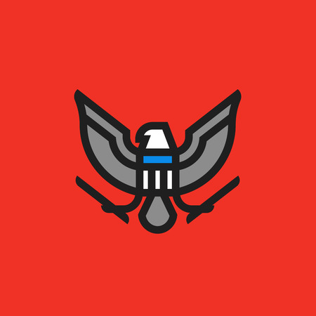 enforcement: Modern flat line heraldry symbol of stylized american eagle with shield