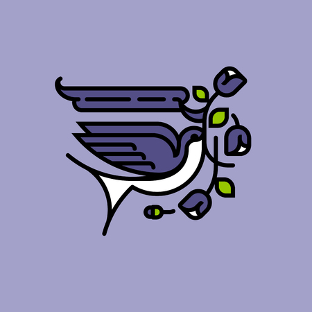 leaf: Swallow and purple flowers. Neo traditional old school American tattoo style vector illustration