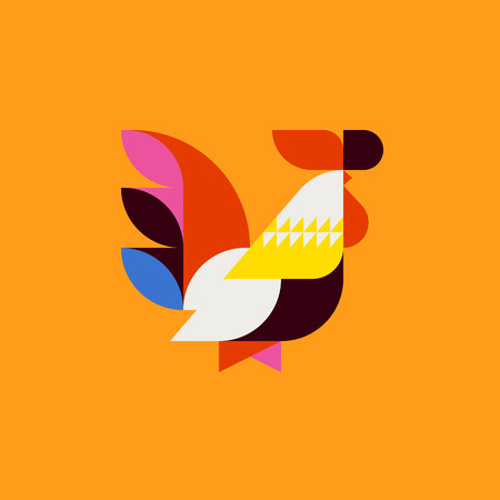 Silhouette of cute patchwork style rooster. Modern minimalistic poster