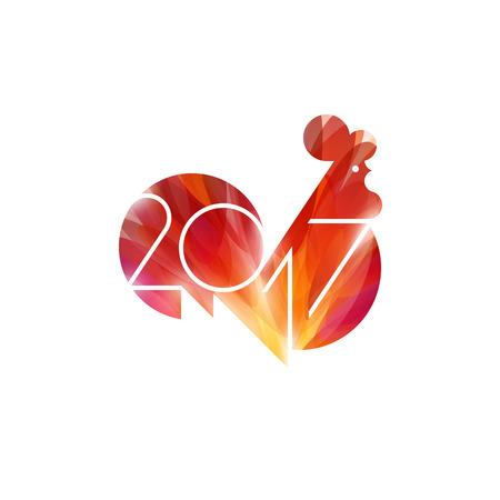 Nieuwjaarsontwerp met silhouet van rood vuurhaan. Moderne minimalistische vectorillustratie van haan als symbool van het jaar 2017 op de Chinese kalender