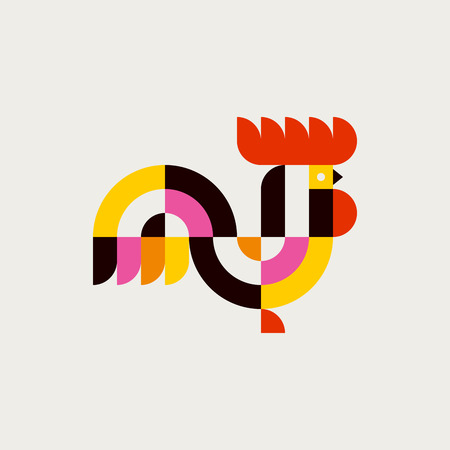 Rooster. Modern flat vector logo template or icon of cock