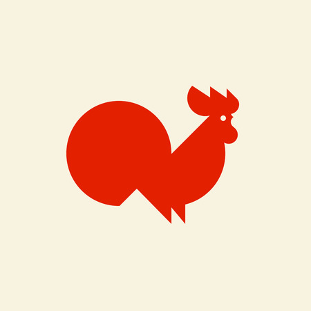 europe: Silhouette of cute rooster. Modern flat vector logo template or icon of cock