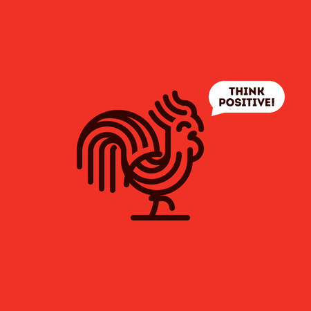 round logo: Think positive concept with cute walking rooster. Modern line vector illustration of striped cock on a red