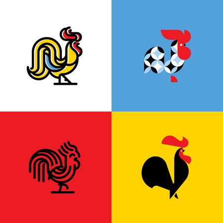asian art: Set of rooster silhouettes. Modern flat vector template or icon of cock