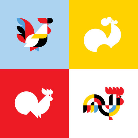 europe: Rooster. Elegant flat vector templates or icons of cock silhouettes