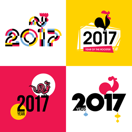 pink and black background: Stylish flat vector illustration of fire cock as symbol of 2017 year on the Chinese calendar. New Year design with silhouette of red rooster