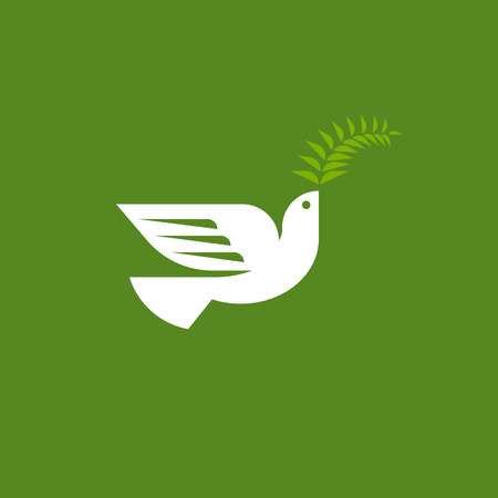 Elegant dove. Flat style vector logo template of white pigeon with fern leaf on green background